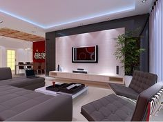 Add that extra spark to your ceiling with LED strip Lighting DIY. Living Room Tv, Living Room Modern, Living Room Interior, Home Interior Design, Home And Living, Living Room Designs, Small Living, Sala Grande, Plafond Design