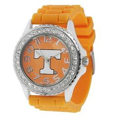 Shop for Geneva Women's Platinum Rhinestone-accented Clemson Tigers Watch. Get free delivery On EVERYTHING* Overstock - Your Online Watches Store! Stylish Watches, Cool Watches, Wrist Watches, U Of Tennessee, Tn Vols, Orange Country, Tennessee Football, Tiger Logo, University Of Tennessee