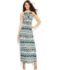 INC International Concepts Embellished Printed Maxi Halter Dress -  my cruise attire