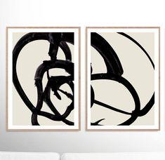 Abstract Art Print Set Set of 2 Prints Black and White Black And White Wall Art, Black And White Abstract, Wall Art Sets, Large Wall Art, Hippie Art, Fine Art Paper, Abstract Art, Original Art, Art Prints