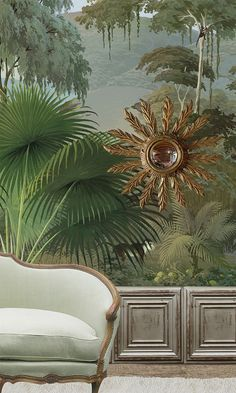 A beautiful jungle wallpaper for an interior with a difference.