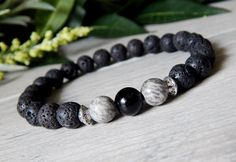 Mens Onyx and Lava Rock Jewelry. Mens Gemstone Bracelets.