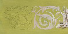 report du motif de la frise d'acanthe et peinture de la couleur moyenne