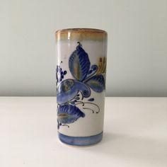Vintage Mexican Art Pottery Cylinder Vase with Bird Design
