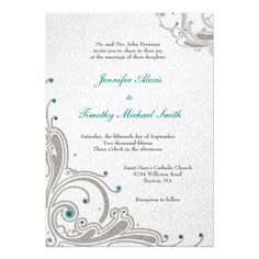 Discount DealsSilver glitter swirls + aqua jewels wedding invitewe are given they also recommend where is the best to buy