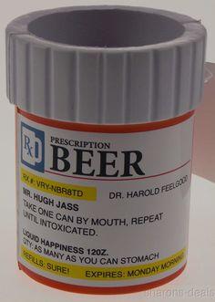 Prescription Pill Bottle Can Cooler Kooler Beer Koozie Insulated Foam Gag Gift