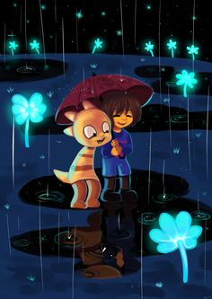 With A Friend by ANZU-0.deviantart.com -- Undertale, Frisk and Monster Kid