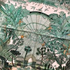 Jardins d'Hiver Hermès scarf by Annie Faivre and the garden which inspired it - by Carre de Paris Winter Garden Restaurant, Winter Greenhouse, Winter Planter, Line Artwork, African Textiles, Scarf Design, Textile Artists, Linocut Prints, Drawings