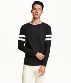 H M Long-Sleeved T-Shirt - Black Camisetas De Manga Larga 22d21e7e09b