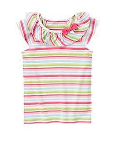hmmm... adult t-shirt inspiration from a Gymboree tee.... would be easy to add this ruffled affect to a premade t-shirt with a small amount of jersey yardage.