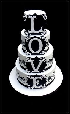 Black White LOVE Cake...Don't forget some black and white personalized napkins to go with this beautiful cake! #itsallinthedetails www.napkinspersonalized.com