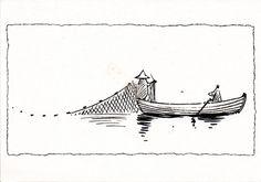Retro Moomin Card-Fishing with Snufkin-Moomin Postcard Moomin Tattoo, Moomin Valley, Birthday Postcards, Tove Jansson, Sister Tattoos, Little Flowers, Book Illustration, Postcard Size, Traditional Art