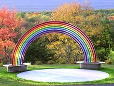 """""""Your Love is Like a Rainbow"""" :: Tom Gottsleben :: 2009 - Largest crystal glass Rainbow located in Upstate, Saugerties - #Woodstock, NY. Crystal Glass #Rainbow Sculpture complete with Side Benches. www.TomGottsleben.com"""
