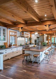 54 Best Rustic Farmhouse Kitchen Cabinets Ideas - Rustic Farm Home Rustic Kitchen Island, Rustic Kitchen Design, Kitchen Layout, New Kitchen, Kitchen Islands, Kitchen Ideas, Kitchen Island Storage, Kitchen Island Lighting, Kitchen Island On Wheels