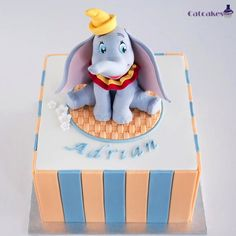 Superb Dumbo Birthday Cake made by Catcakes Dumbo Birthday Party, Boy Birthday Parties, Birthday Cake, Dumbo Baby Shower, Baby Shower Cakes, Dumbo Cake, Circus Cakes, Cupcake Cakes, Cupcakes