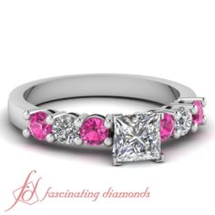 80 Ct Princess Cut Diamond Pink Sapphire 14k White Gold Engagement Ring VS2 E | eBay