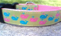 Preppy Whale 1 Inch Width Dog Collar by WillyWoofs on Etsy, $17.00