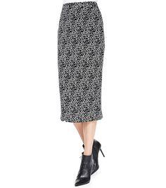 A.L.C. Crackle-Print Midi Skirt in Black Crackle