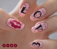 valentine newspaper nail art, love, Valentine's D. Get Nails, Hair And Nails, Newsprint Nails, Newspaper Nail Art, Valentine Nail Art, Valentines, Nail Art Pictures, Types Of Nails, Nail Shop