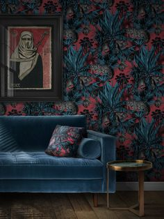 Our iconic print featuring tropical palms, jungle foliage and big cats. FAUNACATION combines a bold colour palette of rich blues and reds for a fabulous finish whether it's for a bold feature wall or a complete room. Our first batch of this stunning wallpaper has already sold out! Pre-order now with delivery expected m