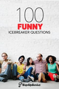 100 Funny Icebreaker Questions to Start Conversations and Get Your Group to Know. 100 Funny Icebreaker Questions to Start Conversations and Get Your Group to Know Each Other. Funny Icebreaker Questions, Icebreaker Activities, Funny Questions, Team Activities, College Icebreakers, Funny Interview Questions, Icebreaker Games For Work, Table Topics Questions, Team Building Activities For Adults