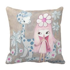 #Dinosaur with Cavegirl Throw #Pillows