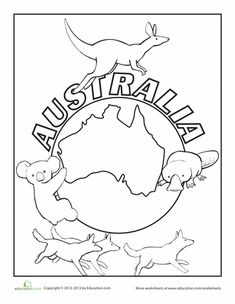 Children will be learning where is located, flag and culture about Australia.Children will be learning where is located, flag and culture about Australia. Australia For Kids, Australia Crafts, Australia Animals, Geography For Kids, World Geography, Animal Coloring Pages, Colouring Pages, World Thinking Day, World Crafts