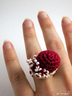 Bello Crochet Rings, Love Crochet, Beautiful Crochet, Crochet Flowers, Crochet Headband Pattern, Crochet Patterns, Jewelry Crafts, Handmade Jewelry, Crochet Accessories