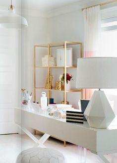 Ikea Vittsjo shelves spray painted gold