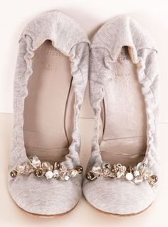 Silver, white & grey beaded flats.