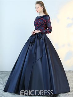Puffy Flower Applique Floor Length Long Sleeve Satin Party Dress With Bowknot Long Gown Dress, Prom Dresses Long With Sleeves, Ball Gown Dresses, Stylish Dresses For Girls, Stylish Dress Designs, Evening Dresses For Weddings, Wedding Dresses For Girls, Evening Gowns, Gown Party Wear