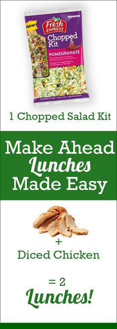 This sweet and crunchy salad kit is the perfect side dish at dinnertime or grab-and-go lunch! Make Ahead Lunches, Prepped Lunches, Salad Kits, Diced Chicken, Lunch To Go, Chopped Salad, Dried Cranberries