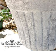 The Decorated House: ~ How To Create this Faux Cement Paint Finish ~ Urn & Succulents Gardening