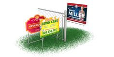 Lowest Prices on Yard Signs, now available with Pole Wires:  designed to attach to poles by using plastic ties, so they can sit at a variety of heights.