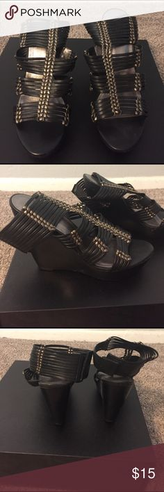 Black sandal wedges size 5 1/2 Cute wedges that wrap around the ankle fastened by Velcro Shoes Sandals