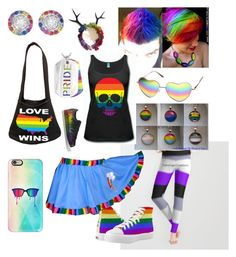 """LGBTQIAP+ Pride!"" by luvducks322 on Polyvore featuring Zipz, Casetify, West Coast Jewelry, ZeroUV and adidas"