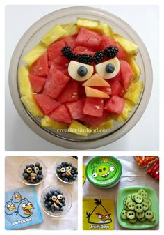 Angry birds healthy and fun snack Lanche divertido e saudável do Angry Birds para a criançada. #vegansnack #criançavegana