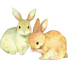 bunnies - love the neat but blotchy watercolour!