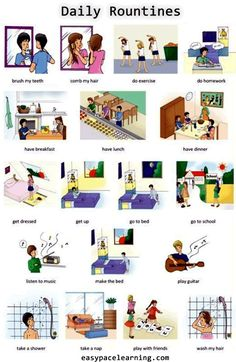 learning vocabulary for everyday routines or actions