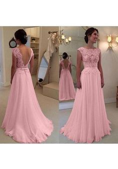 Pink Patchwork Backless Deep V-back Lace Zipper Bridemaid Prom Maxi Dress