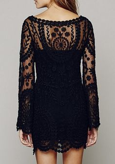 Black Plain Crochet Flower Embroidery See Through Long Sleeve Sexy Lace Mini Dress - Mini Dresses - Dresses