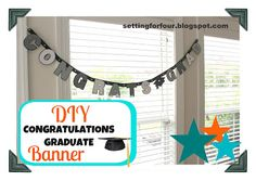 CONGRATULATIONS BANNER:  YEAH!!!  I'd personally simply Print Out a Full Computer Page for Each Letter ON BRIGHTLY COLORED PAPER - well, use colors in line with your colors - (neutrals or pastels or brights or whatever.) - hang on curling ribbon, crepe paper, or other ribbon or twine, what have you....  ?post twice?  once in front of pic station?  once near the refreshments?