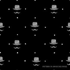 Seamless vector background with gentleman`s bowler and big mustache. Great for barber shop design, gift wrapping paper backdrop. Stylish tiles. Black and white.