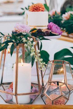 Decoración color cobre para matrimonios