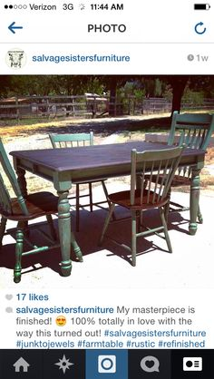 26f9ec010028 Another custom color refinished farm table and miss matched chairs by  Salvage Sisters Furniture