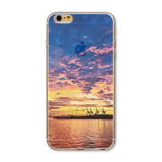 Phone Cover For iphone 6 Plus 4 5 SE Nice City Tower Ocean Fulmination Painted Transparent Soft TPU Back Case Iphone 6, Iphone Cases, Modern City, Best Cities, Phone Cover, 6s Plus, Nice City, Ocean, Sunset