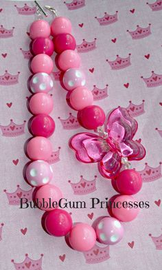 Chunky BubbleGum bead Necklace PINK Butterfly toddler baby Jewelry Princess Summer on Etsy, $18.00