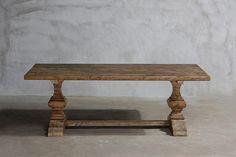 Reclaimed Elm Plank Table - Trestle Leg Leg