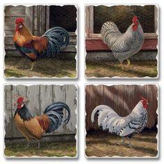 Barnyard Rooster Set Of 4