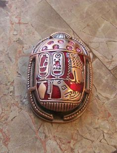 Scarab Copper with Gemstones and Hieroglyphics from Egypt Egyptian | eBay
